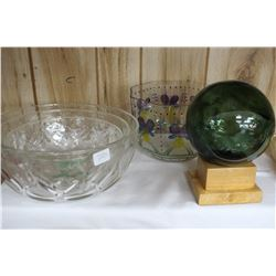 Japanese Gill Net Float Ball on Wooden Stand and Four Bowls (Floral Bowl is Chipped)