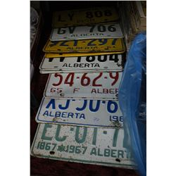 Alberta License Plates - 7 Sets - 1958 to 1967 - some years are missing