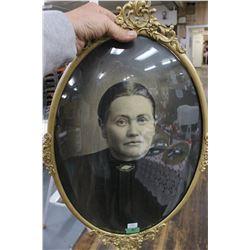 Women's Portrait in Metal Oval Convex Glass Frame