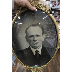 Man's Portrait in Metal Oval Convex Glass Frame