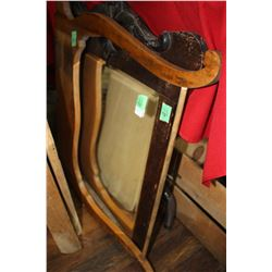 Wash Stand Harp and a Bevelled Mirror in an Ornate Frame