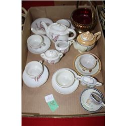 Flat of Children's Dishes & a Small Red Compote