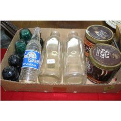 Flat of Milk Bottles, Insulators, Tobacco Tins, etc.
