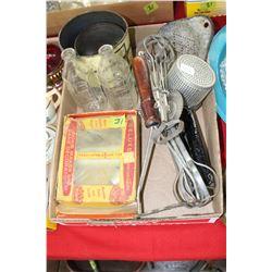 Flat of Kitchen Utensils - Milk Skimmer, 2 Pyrex Baby Bottles, Tins & Cake Decorator