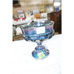 Blue Carnival Glass Stemmed Candy Dish
