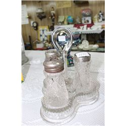 Decorative Glass 3 pc. Condiment Set in a Galley