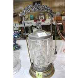 Pressed Glass Pickle Castor an a Ornate Metal Holder with Fork