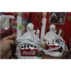 Pair of Coca Cola Polar Bear Lights