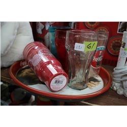 Coca Cola Tray with Assorted Coke Glasses