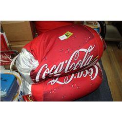 Two Coca Cola Microbead Cushions & Coke Bottle Cushion