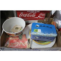 Flat with Bag of Puzzle pcs; License Plate Holder; Coke Coins; 2 - 6 pack Holders; 2 Plates & Coke B