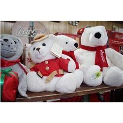 2 Coca Cola Polar Bears; an RCMP Bear and a Coca Cola Seal