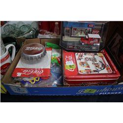 Flat of Coca Cola Items including:  Night Light, Toys, Tins, etc.