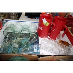 Flat of Coca Cola Glasses, 2 Mugs and Salt & Pepper