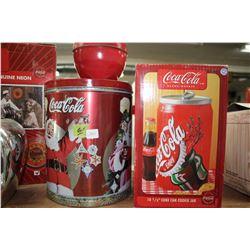 Coca Cola Popcorn Tin and a Coca Cola Cookie Jar