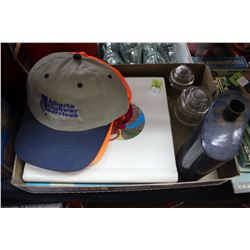 Flat with Metal Flask; 2 Albums of Oil Co. Logos & 3 Ball Caps