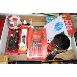 Flat of Coca Cola Collectibles - Pens, Bottle Openers, Corn Holders, etc.