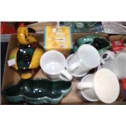 Flat of Mugs and Blue Mountain Pottery pcs