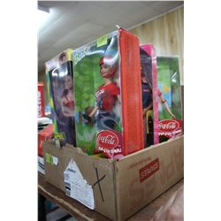 Box with Dolls - 4 Spice Girls, 3 Coca Cola Barbies