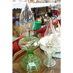 2 Green Font and Base Coal Oil Lamps - 1 large & 1 small