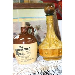 Two Whiskey Decanters & Coal Miners' Shovel
