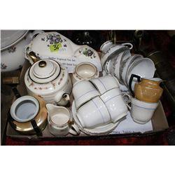 Miscellaneous Box of China - Tea Cups, Teapot, Cream, Sugar, etc.
