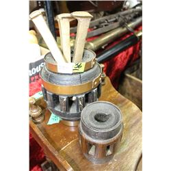 Two Replica Wooden Wagon Wheel Hubs with 3 Railroad Spikes