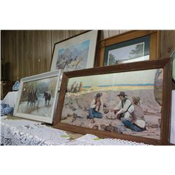 Three Western Theme Framed Pictures