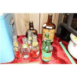 2 Viintage Whiskey Bottles & 6 Mini Pop Bottles