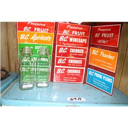 Two Milk Bottles & B.C. Fruit Paper Stickers