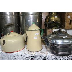 1 Enamal, 1 Metal Kettle and 1 Enamel Coffee Pot