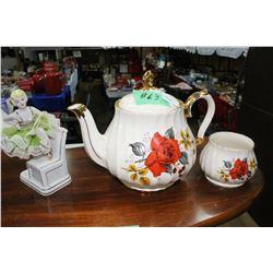 Sadler Teapot & Sugar only and a Ballerina Figurine