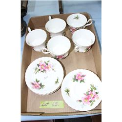 Flat with 5 Royal Albert Prairie Rose Cups & Saucers