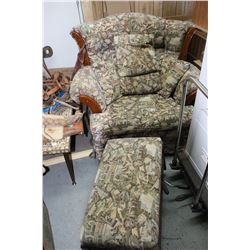 1 Upholstered Arm Chair and Ottoman