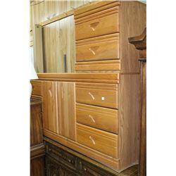Bedroom Suite (Light Oak) - Dresser, Night Table, Headboard & Mirror