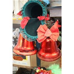Christmas Mail Box, Two Red Bells & Basket Christmas Decorations