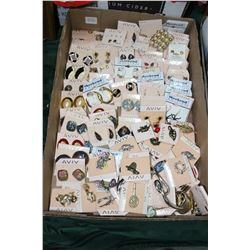 Flat of Assorted Costume Jewellery - Pins and Earrings