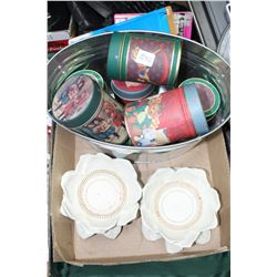 Flat with 2 Candle Holders, Misc. Tins and Plate Holders