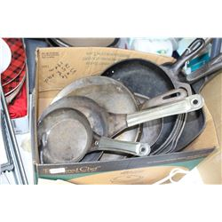 Flat of Cast Fry Pans and Metal Fry Pans