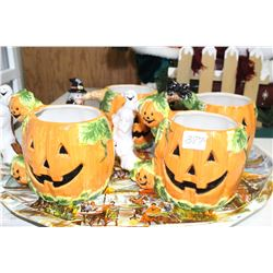 Tray with Large Halloween Mugs