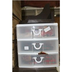 Small 3 Drawer Storage Unit with Christmas Items & a Wooden Wall Shelf