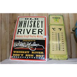 Metal Whiskey River - Willie Nelson Sign & a Metal Texaco Thermometer