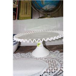 Fenton Milk Glass Hobnail Pedestal Serving Dish with Fluted Edges