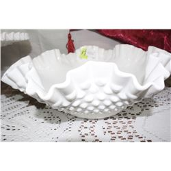 Fenton Milk Glass Hobnail Serving Bowl with Fluted Edges