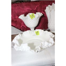 Fenton Milk Glass Hobnail Pedestal Candy Dish with Fluted Edges & Candy Dish with Fluted Edges