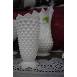 Fenton Milk Glass Hobnail Vase with Scalloped Edge