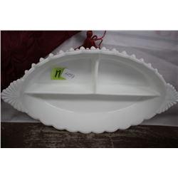 Fenton Milk Glass Hobnail Oval Divided Serving Dish