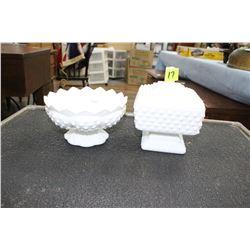 Fenton Milk Glass Hobnail Candle Holder Pedestal Bowl - Holds 6 Candles