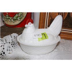 Milk Glass Hen on a Nest