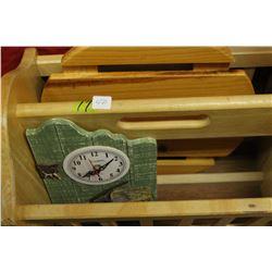 Magazine Rack, a Wooden Slatted Plant Cart on Wheels & a Clock